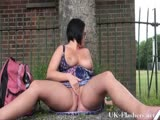 Outdoor masturbation of sexy amateur milf showing shaved