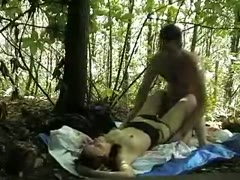 He fucks booby slutty girl in the wood