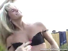 Superb blonde amateur slut Ashly Shy gets pussy licked and plays with a small dick outdoors