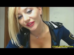 Nasty blonde in police uniform orders you to jerk you cock