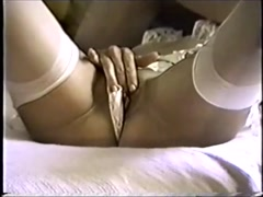 Kathy finger blasts her shaved meathanging pussy