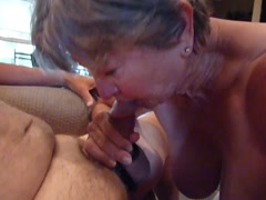 GRANNY IS HAPPY AFTER GIVING HEAD