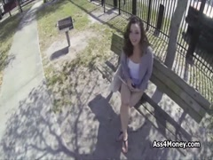 Outdoor quickie with broke brunette teen