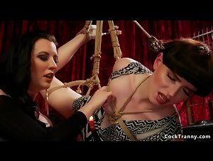 Tranny bangs brunette in scissors position
