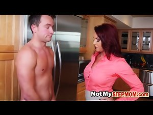Redhead Stepmom teaches to fuck in a hot Threesome