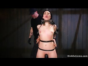 Slave gagged and banged in device