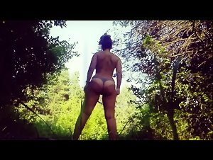 Horny wife strips and masturbates in the woods alone