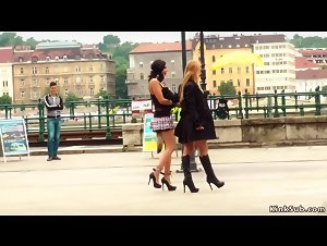 Euro babe gang bang fucked in public