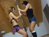 2 sexy amateur girls hot pole dancing strip