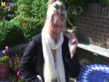 Big breasted amateur granny masturbate in the garden