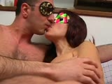 Hot MILF in mask and pink lingerie gets fucked and takes cumshot to the face