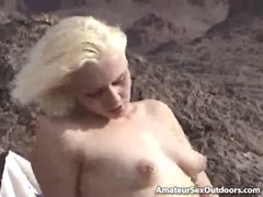 Perky titted blonde amateur girl masturbate wet pussy outdoors