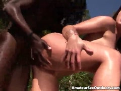 Sensational amateur whore Lauren Phoenix gets fucked by a monster black cock outdoors