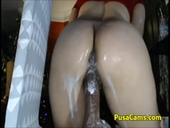 Squirting Dildo Crazy Pussy Loading with Sticky Hot White Cum