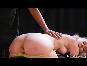 Blonde with gimp mask bdsm gangbanged