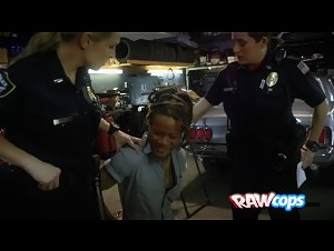 Black mechanic sucks on cops titties