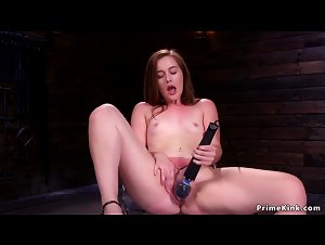 Small tits brunette rides Alien Sybian