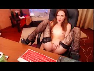 redhaired chick fucking pussy in office