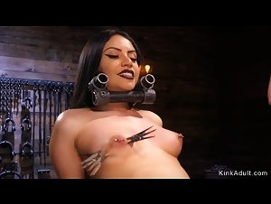 Brunette wet pussy toyed in bondage