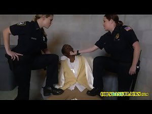 Big Black Cock gets busted by busty white milfs