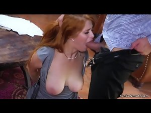 Natural busty redhead anal banged in bondage