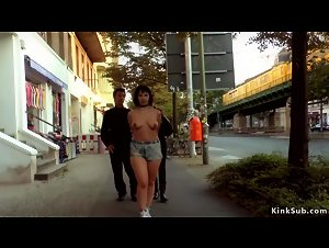 Bare tits slut disgraced in the street