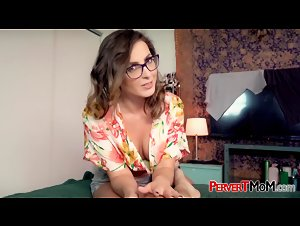 Helena Price horny stepmother sucks with glasses on