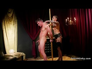 Alt pole dancer dominates male client