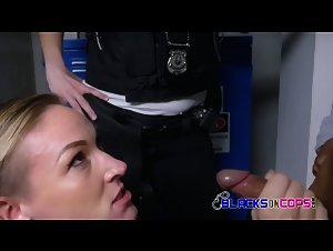 White cop with HUGE ass fucked while partner watches out
