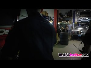 Mechanic gets his cock sucked and ridden by horny milf cops