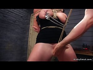 Busty Milf slave gets anal threesome